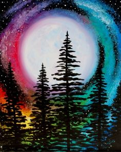 Join us for a Paint Nite event Sun Dec 2017 at 377 Maple Ave W Vienna, VA. P… Join us for a Paint Nite event Sun Dec 2017 at 377 Maple Ave W Vienna, VA. Purchase your tickets online to reserve a fun night out! Easy Canvas Painting, Galaxy Painting, Diy Painting, Painting & Drawing, Rainbow Painting, Moon Painting, Rainbow Art, Galaxy Art, Beginner Painting