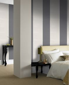 31-169 Julien MacDonald Glitz White,Cream,Grey Stripe Wallpaper | Graham & Brown