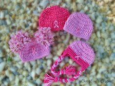 Crochet Breast Cancer Awareness baby hats