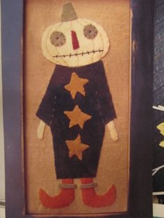 """8""""x16"""" Miss October Wool Applique  Paperbag primitives"""