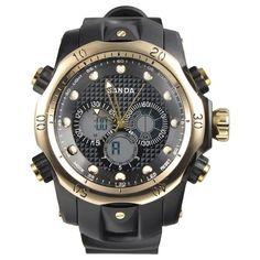 New Men's Gold & Black Sports Date Alarm Analog/Digital Watch