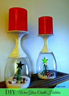 DIY Wine Glass Candle Holders- awesome DIY and Christmas Craft!   Check it out here-->>http://www.amittenfullofsavings.com/diy-wine-glass-candle-holders/