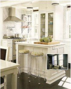 Anna Kohler's Kitchen, Lucite Stools, Marble