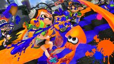 This poster was based on a existing Japanese poster advertising the Wii U game Splatoon but I changed the original ad by redrawing the bottom banner (al. Splatoon Japanese Ad Poster x Wii U, Splatoon 2 Game, Splatoon 2 Amiibo, Web Design, Game Design, Video Game Posters, Japanese Imports, Games, Invader Zim