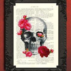Skull Art Print  Roses book art  Skull with by MadameMemento, $7.99