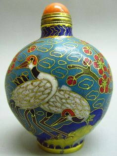 Chinese Cloisonne Snuff bottle - Crane & Flower