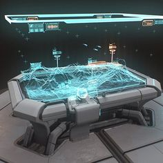 This is a hologram table I designed as a hero prop for a surrounding sci-fi environment. I used a lot of references from sci-fi games to films and a variety of game artists to achieve the final aesthetic. Spaceship Interior, Futuristic Interior, Spaceship Design, Futuristic Design, Futuristic Architecture, New Technology Gadgets, Futuristic Technology, Technology Design, Energy Technology
