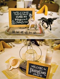Magical Harry Potter Romance Bridal Shower: tables named for each class. Very cute.