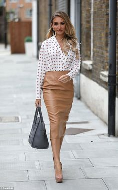 Megan McKenna looks chic in polka dot blouse and leather pencil skirt - Loving life: She's been teasing her new fashion line for weeks. So it was no wonder Megan… Source by mjlopezcozar - Megan Mckenna, Summer Outfits Women, Fall Outfits, Fashion Outfits, Work Outfits, Casual Outfits, Fashion Line, Work Fashion, Fashion Fashion