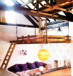 Unique Loft Bed in Kids Bedroom Design Ideas. Suspended Bed in Grey Wall Painting in Kids Bedroom Design Ideas. White Cubby Hole Bunks for Three in Kids Bedroom Design Ideas. Cool Bedrooms For Teen Girls, Awesome Bedrooms, Cool Rooms, Girl Bedrooms, Teen Bedroom, Awesome Beds, Cool Bedroom Ideas, Attic Bedroom Ideas For Teens, Cool Beds For Teens