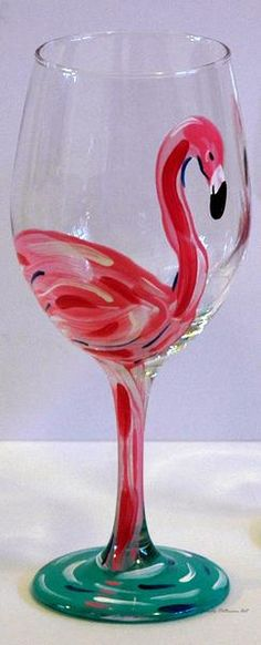 Pink Flamingo Wine Glass - Diy How to Crafts Wine Glass Crafts, Wine Craft, Wine Bottle Crafts, Wine Bottles, Broken Glass Art, Sea Glass Art, Stained Glass Art, Glass Paint, Shattered Glass
