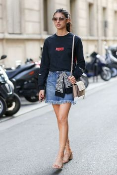 Depending on your dress code a denim mini can be totally work appropriate when elevated with block heels.