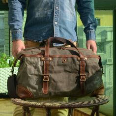 Handmade Vintage Look Waxed Canvas Duffel Bag Canvas Weekender Bag, Duffle Bag Travel, Travel Bags, Duffel Bags, Crossbody Bags, Mens Overnight Bag, Waxed Canvas, Black Cross Body Bag, Bag Men
