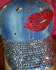 Hat Rhinestones red embellishment denim baseball cap for women hip hop -- Want additional info? Click on the image.