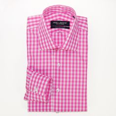 Pink & White Check Contemporary Fit - Button Cuff Dress Shirt