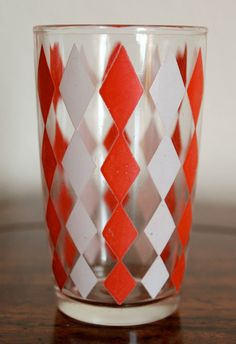 Vintage Swanky Swigs Glass Red and Pink Diamond Pattern. via Etsy.