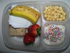 Ham & Cheese wrap, banana, strawberries,  Kix cereal, vanilla yogurt with sprinkles