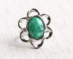 Vintage Green Stone Flower Ring - Retro Signed Sarah Coventry 1970s Stone Silver Tone Adjustable Flattery Mod Floral Costume Jewelry by Maejean Vintage on Etsy, $14.00
