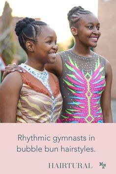 Hairtural bubble bun for the rhythmic gymnasts. Natural Hair Salons, Natural Hair Styles, Gymnasts, Bun Hairstyles, Braids, Bubbles, Sari, Fashion, Bang Braids