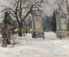 Entrance to an estate in winter Artwork by Sergei Arsenevich Vinogradov Hand-painted and Art Prints on canvas for sale,you can custom the size and frame