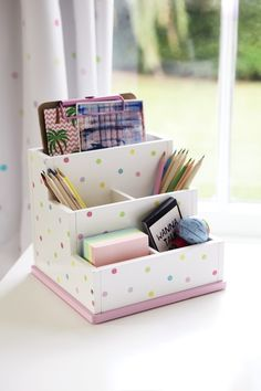 Clear the clutter on kids' desks with this sturdy desk tidy. Includes sections for paper, envelopes and pens. It's also available in our Grey Star and White/Grey Star designs. Diy Cardboard Furniture, Cardboard Crafts, Paper Crafts, Diy Storage Boxes, Desk Organization Diy, Diy Crafts Hacks, Diy Home Crafts, Diy For Kids, Crafts For Kids
