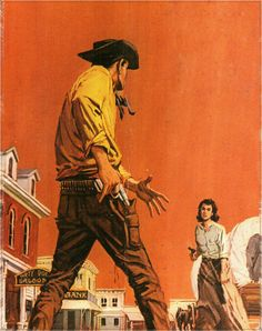 """Beaten to the draw. """"Give up, Mr Jenkins. I don't want to shoot you,"""" Annie told the trickster, """" just face up to your crime, drop your gun and let me take you in. Pulp Fiction Art, Pulp Art, Cowboy Draw, Nostalgic Art, Gangster, Western Comics, West Art, Le Far West, Old West"""