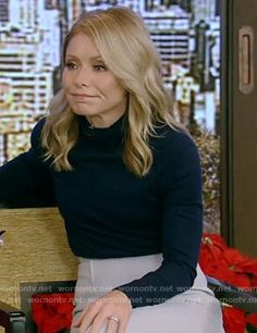 Ryan Kelly, Kelly S, Blue Pleated Skirt, Blouse And Skirt, Kelly Ripa Mark Consuelos, Kelly Green Dresses, Ralph Lauren Skirts, Cashmere Turtleneck, Faux Leather Skirt