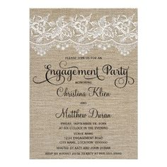 Rustic Jute and Lace 5x7 Engagement Party Personalized Invite. $2.05 #rusticwedding #rusticengagementparty #engagementpartyinvites