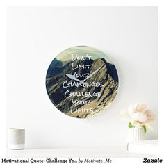 Motivational Quote: Challenge Your Limits Large Clock Holiday Cards, Christmas Cards, Large Clock, Wall Clocks, Christmas Card Holders, Hand Sanitizer, Keep It Cleaner, Motivational Quotes, Challenges
