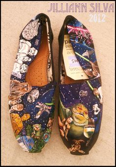 STAR WARS Toms - New Shoes Included - Made to Order - Classic Toms or Ballet Flats. $250.00, via Etsy.