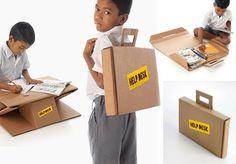 ONG transforma caixas de papelão em mochilas que ainda viram mesas pra ajudar estudantes carentes