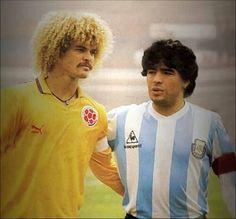 """Carlos """"El Pibe"""" Valderrama y Diego Armando """"El Pelusa"""" Maradona"""