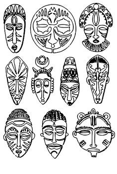 african mask drawings - Google Search