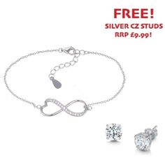 Sterling Silver and Cubic Zirconia Fancy Infinity Bracelet - John Stewart Jewellers