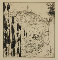 "Ernest D. Roth Original Etching ""Sienna"", signed and dated 1924- auction 3/16/13"