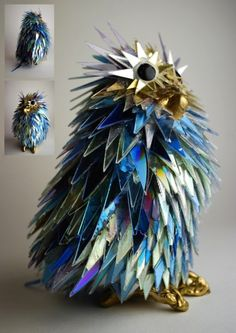 Artist Sean Avery uses recycled CDs to create this one-of-a-kind sculpture.