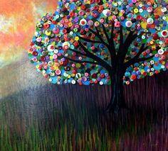 Buttons/felt/circles tree