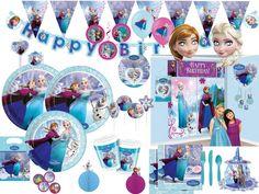 """Frozen Eiskönigin Ice Skating Party Deko Set - Kostüme und Party Deko von Disneys Film """"die Eiskönigin"""". Feiert mit Anna, Elsa und Olaf einen wunderschönen Prinzessinnen Kindergeburtstag."""