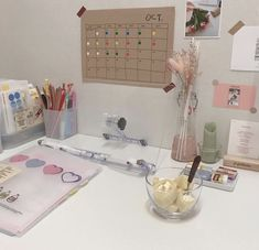 Image about aesthetic in room inspo by Study Desk, Study Space, Desk Space, My New Room, My Room, Desk Layout, Student Desks, Study Areas, Aesthetic Rooms
