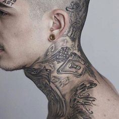 Best Neck Tattoo Ideas - Cool Neck Tattoos For Men: Best Neck Tattoo Ideas and Designs For Guys Side Neck Tattoo, Neck Tattoo For Guys, Back Tattoo, Tattoos For Guys, Badass Tattoos, Hot Tattoos, Mens Neck Tattoos, Tattoo Ideas, Tattoo Designs