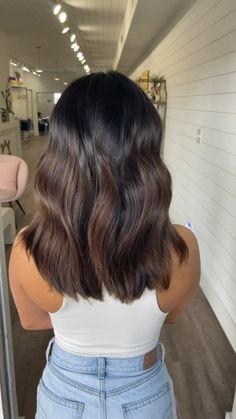 Brown Hair Balayage, Balayage Brunette, Dark Balayage, Long Brunette Hair, Bayalage, Balayage Highlights, Hair Color For Black Hair, Black To Brown Ombre Hair, Highlights For Black Hair