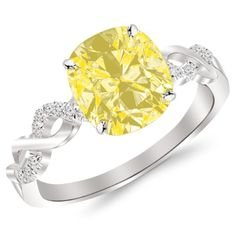 0.63 Carat Twisting Infinity Gold and Diamond Split Shank Pave Set Diamond Engagement Ring 14K Gold with a 0.5 Carat Cushion Cut AAA Quality Yellow Diamond (Heirloom Quality)