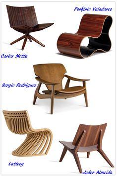Uma seleção de poltronas de madeira assinada por designers brasileiros / A selection of wooden armchairs signed by brazilian designers