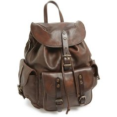 Frye 'Veronica' Leather Backpack ($498) ❤ liked on Polyvore featuring bags, backpacks, backpack, maple, vintage backpack, leather bags, vintage rucksack, pocket backpack and brown backpack