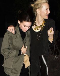 """Yes, yes we had a great dinner!"" Cate & Rooney after dinner last night #cateblanchett #rooneymara #rooneybeingtipsyandshy #protectivewifecate #myedit #ifonlyitwastrue #caterooneylove"