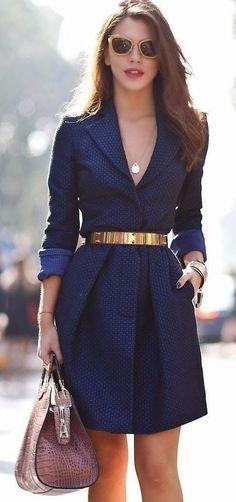 Blue Plain Pleated Turndown Collar Fashion Mini Dress