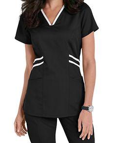 Grey's Anatomy Marquis Contrast Trim V-neck Scrub Tops Spa Uniform, Scrubs Uniform, Scrubs Pattern, Stylish Scrubs, Scrubs Outfit, Greys Anatomy Scrubs, Medical Scrubs, Nurse Scrubs, Style Matters