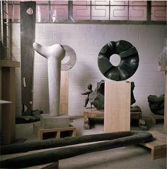 Isamu Noguchi's 10th Street studio in Long Island City, New York, ca. 1969. Photograph by Margot Granitsas, The Noguchi Museum Archives. / thenoguchimuseum