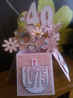 40th birthday explosion card for women/girls