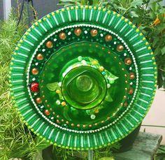 Garden Decor Glass Plate Flower For Your Winter by pollysyardart, $30.00
